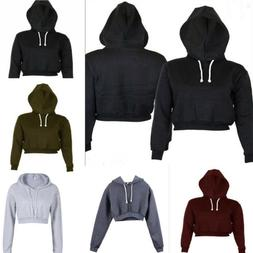Women's Hoodie Long Sleeve Sweatshirt Jumper Sweater Crop To