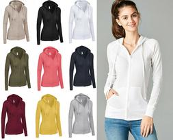 S-3X Women's Hoodie Long Sleeve Waffle Knit Full Zip Sweatsh