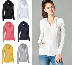 Women's Hoodie Long Sleeve Thermal Waffle Knit Zip Up Jacket