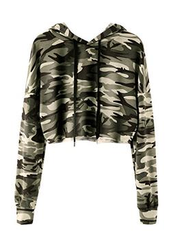 MAKEMECHIC Women's Long Sleeve Camo Print Sweatshirt Crop To