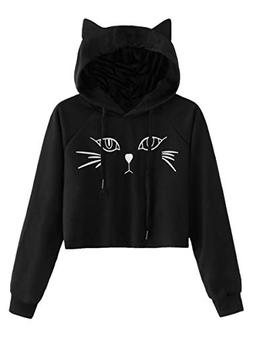 SweatyRocks Women's Long Sleeve Hoodie Crop Top Cat Print Pu