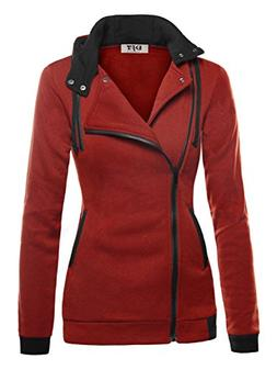 DJT Women's Oblique Zipper Slim Fit Hoodie Jacket Large Dark