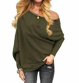 Othyroce Women's Off The Shoulder Sweater Pullover, 05-army