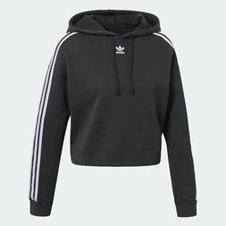 Women's Adidas Originals 3-Stripes Cropped Hoodie Black/Whit