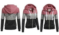 Doublju Women's Plus Size Zip-Up Hoodie - Begoniapink - Size
