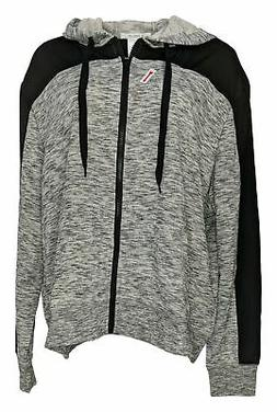 K Jordan Women's Plus Sz 3X Marled Colorblock Hoodie Black/