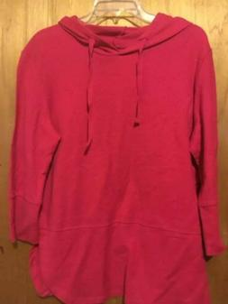 Hanes Women's Pull Over Hoodie RED Large Cotton Signature