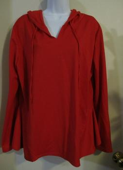 DOUBLJU Women's RED Long Sleeve Hoodie Top V Neck Flared Sid