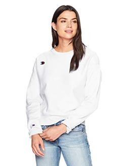 Champion Women's Reverse Weave Crew, White, Large