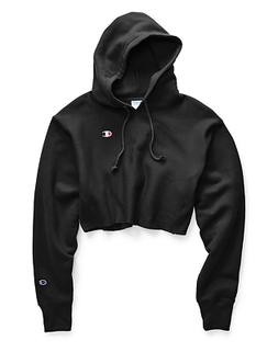 Champion Women's Reverse Weave Cropped Cut Off Hoodie - Blac