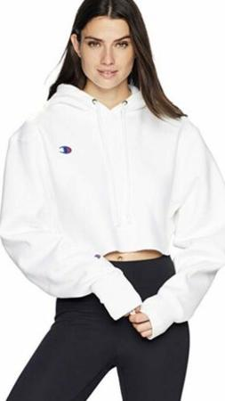 Champion Women's Reverse Weave Cropped Cut Off Hoodie - Whit