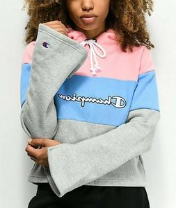 Champion Women's Reverse Weave Cropped  Hoodie, Pink Baby Bl