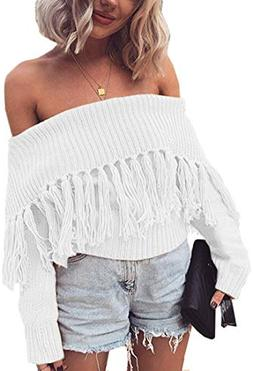 Angashion Women's Sexy Off Shoulder Long Sleeve Slim Fit Fri