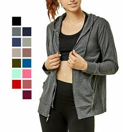 Women's Sweatshirt Hoodie Jacket Zip-Up Long Sleeve Drawstri