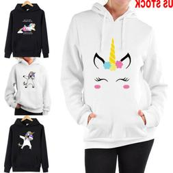 Women Unicorn pattern Long Sleeve Hoodie Sweatshirt Sweater