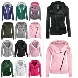 Women Winter Plain Zip Up Casual Hooded Sweatshirt Hoodies C