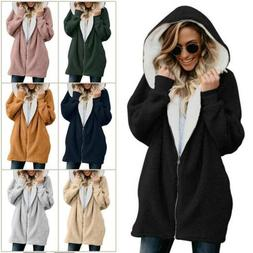 Women Winter Warm Fluffy Hoodie Fleece Oversized Solid Jacke