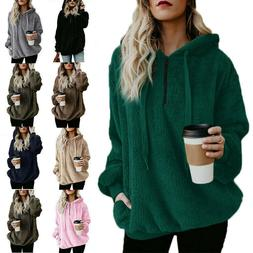 Women Winter Warm Fluffy Sweater Tops Hoodie Sweatshirt Hood