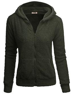 Doublju Womens Casual Two Pocket Long Sleeve Fleece Jacket O