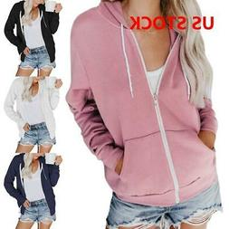 Womens Classic Active Thin Cotton Hoodie Jacket Sweatshirt Z