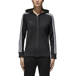Adidas Womens Essentials Cotton Fleece 3-Stripe Full Zip Hoo