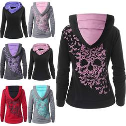 Womens Fashion Butterfly Skull Print Hoodie Sweatshirt Tops