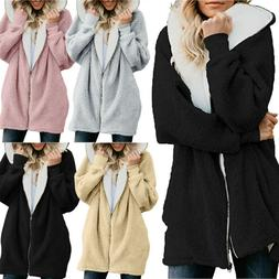 Women's Faux Fur Teddy Bear Fleece Coat Lady Winter Jacket