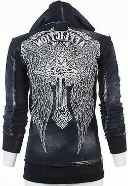 AFFLICTION Womens Hoodie Sweat Shirt ZIP UP Jacket ASCENSION