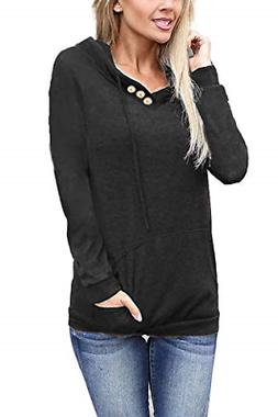 Othyroce Womens Hoodies Pullover Long Sleeve Button V-Neck P