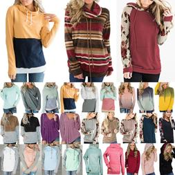 Womens Long Sleeve Hoodie Sweatshirt Hooded Jumper Sweater P