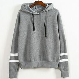 Womens Long Sleeve Hoodie Sweatshirt Jumper Hooded Pullover