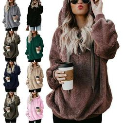 Women Long Sleeve Teddy Bear Fleece Sweatshirt Hoodie Hooded