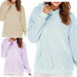 Womens Plush Sweatshirts Thicken Hoodie Sweater Long Sleeve