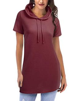 NINEXIS Womens Short Sleeve Long Hoodie Tunic Sweatshirts Bu