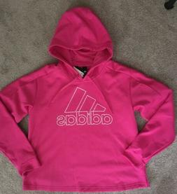 Women's Adidas Size Large Pink Hoodie Cropped Climawarm Sw