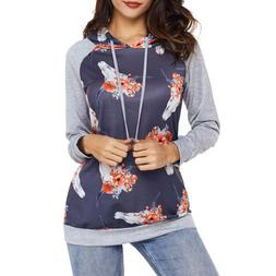 Womens Sweatshirt Sweater Pullover Floral Pattern Print Long