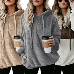 Womens Teddy Polar Fleece Sweatshirt Hoodie Jumper Hooded To