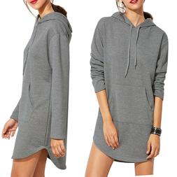 Womens V Neck Long Sleeve Sweatshirt Casual Hooded Jumper Pu
