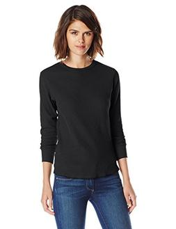 Hanes Women's X-Temp Thermal Underwear Crew Shirt, Black, Sm
